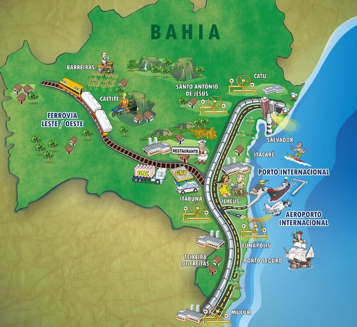 Bahia Brazil Map for infrastructure