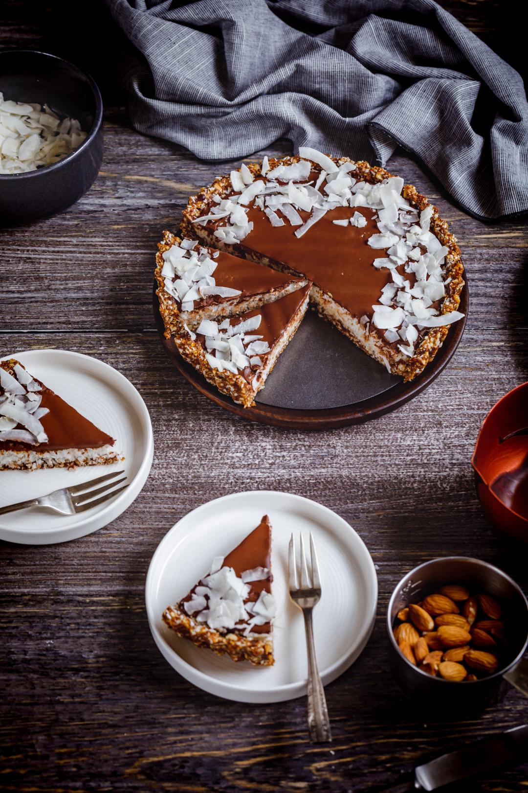 Vegan No-Bake coconut chocolate Tart
