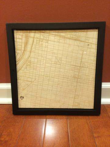 The final map framed and ready to be hung.