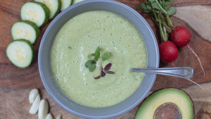 Green Gazpacho with Cucumber and Radish