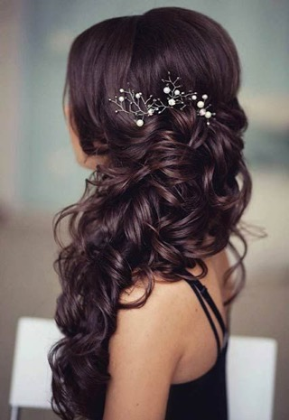 Braided Hair and Curls to the Side With Flowers