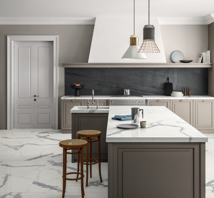 Magnifica Porcelain in Statuario Super White and Basalto