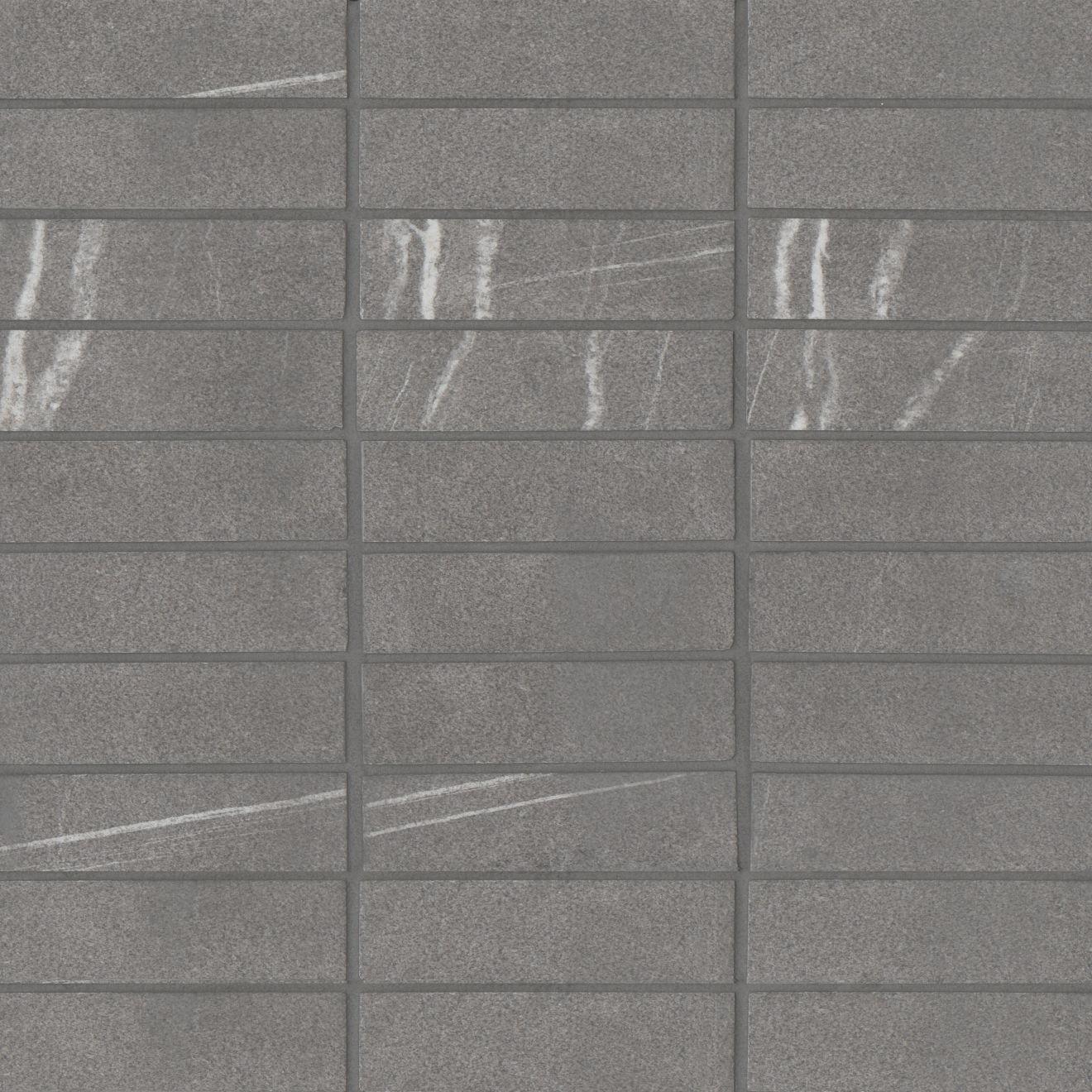 "Nomade 1""x4"" Matte Porcelain Straight Set Mosaic Tile in Argent"