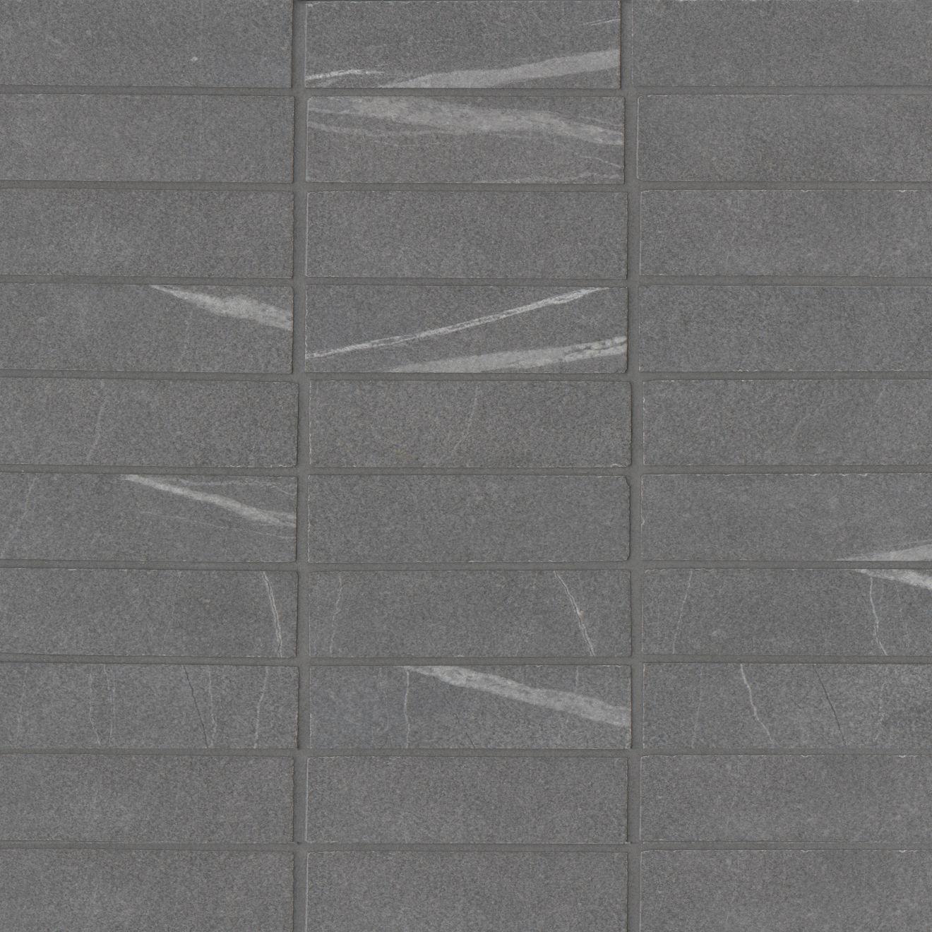 "Nomade 1""x4"" Matte Porcelain Straight Set Mosaic Tile in Noir"