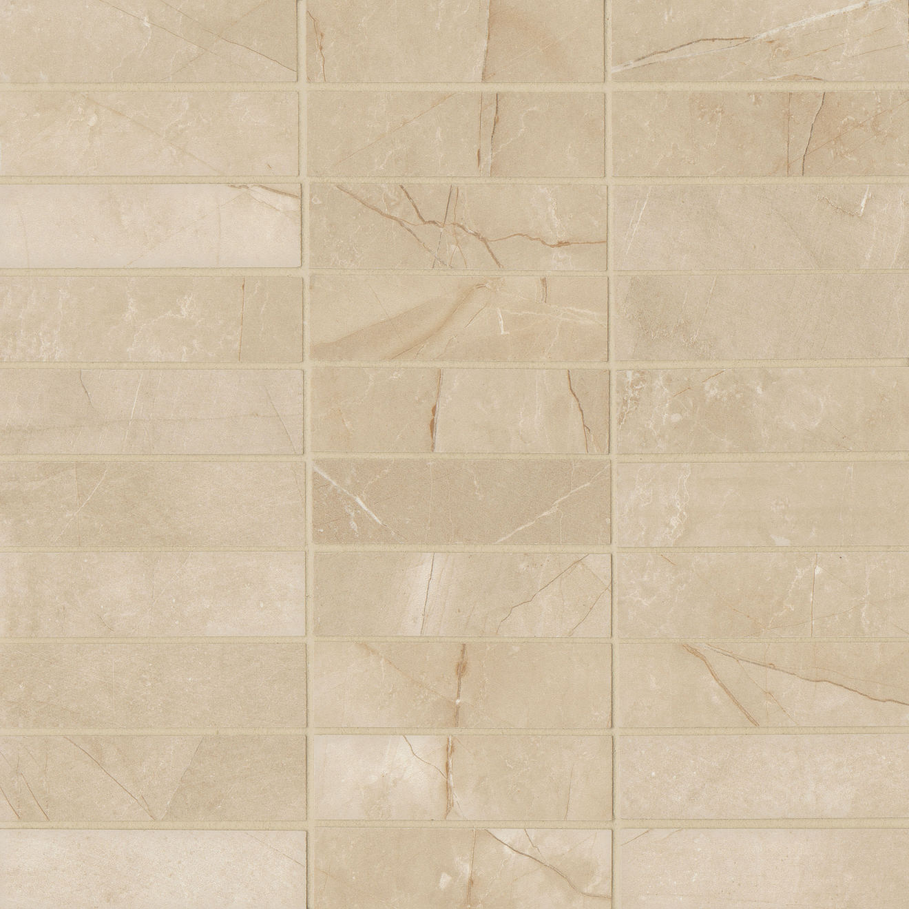 "Pulpis 1""x4"" Honed Porcelain Mosaic in Beige"
