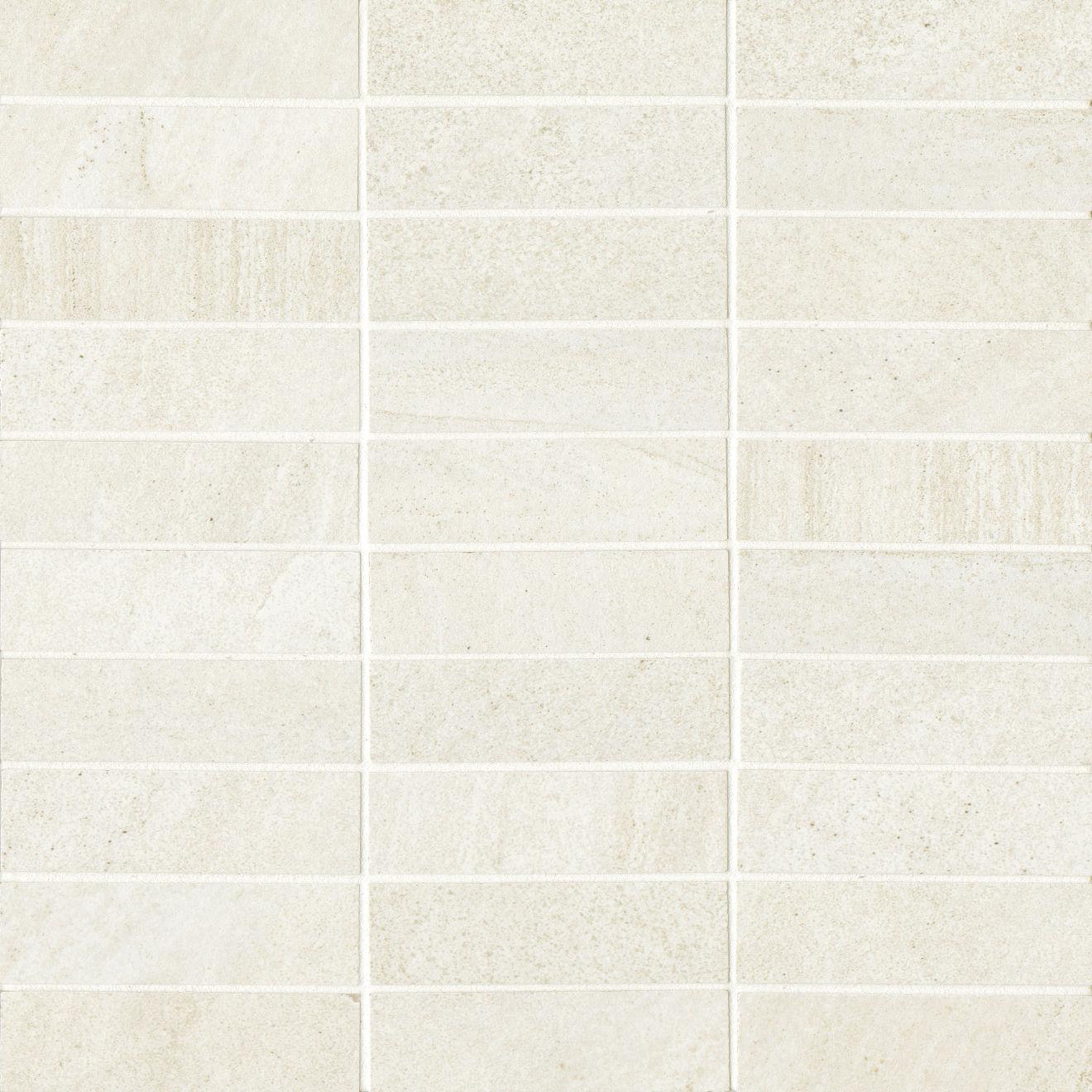 "Purestone 1""x4"" Matte Porcelain Mosaic Tile in Bianco"