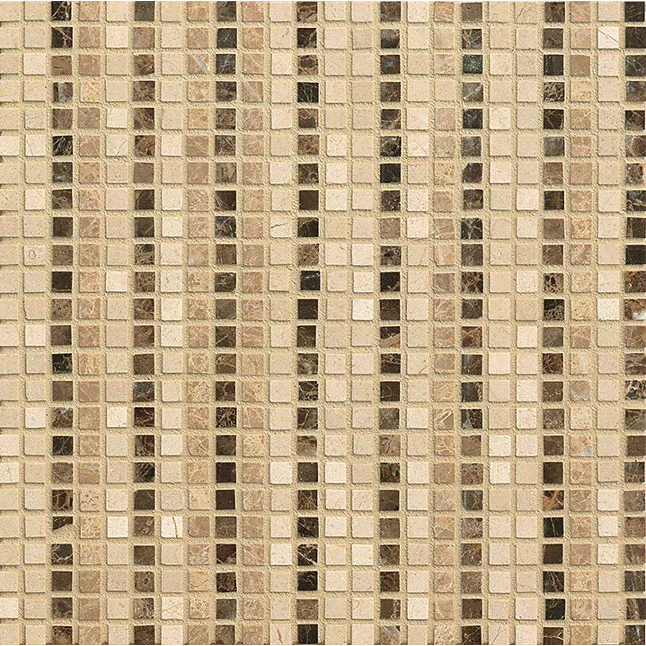 """Menage et Trois 3/8"""" x 3/8"""" Floor & Wall Mosaic in Espresso, Heirloom, Viburnum"""