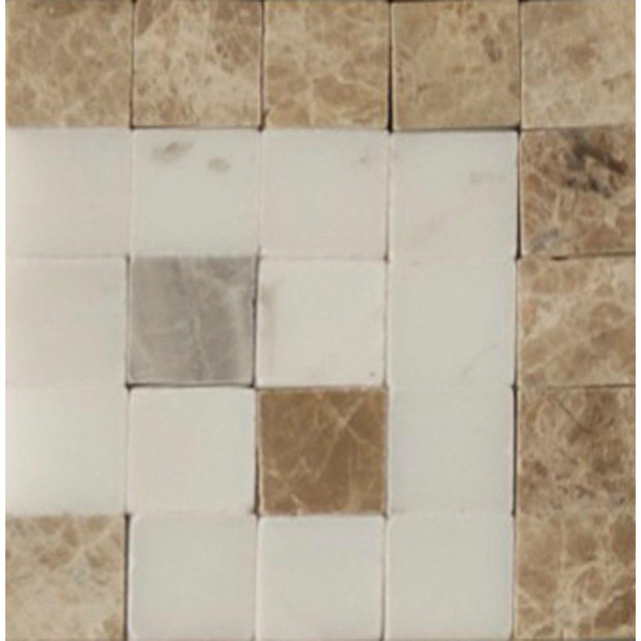 "Mod Rocks 3"" x 3"" Decorative Tile in Gris, Viburnum, White Carrera"