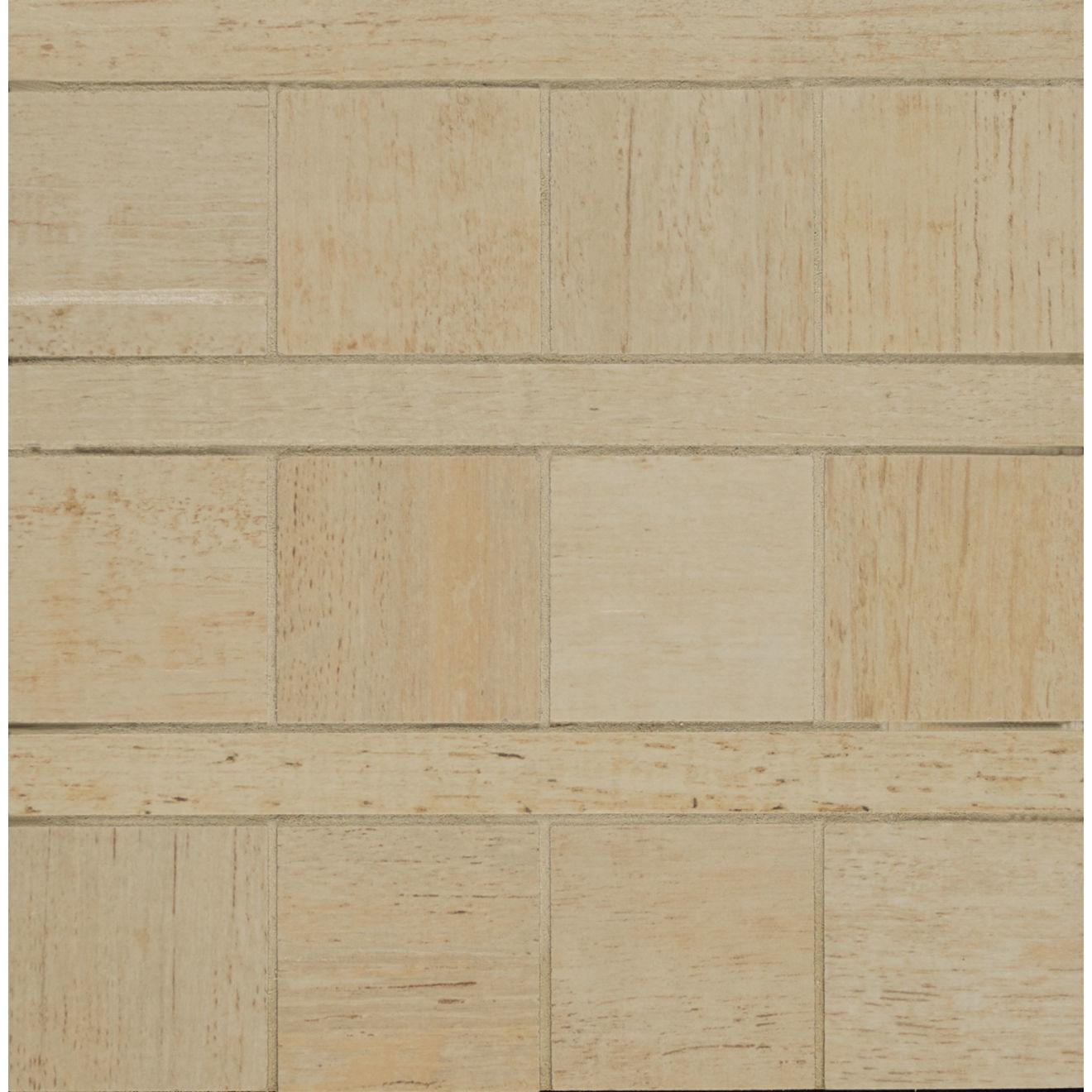 "Barrique 8"" x 8"" Wood Look Matte Porcelain Mosaic Tile in Ecru"