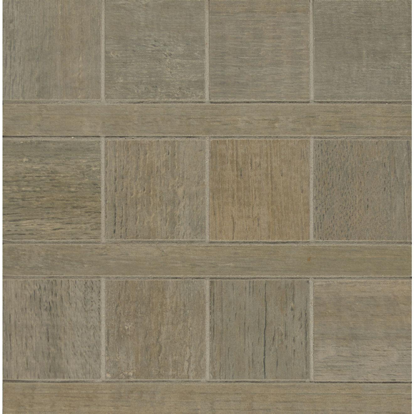 """Barrique 8"""" x 8"""" Wood Look Matte Porcelain Mosaic Tile in Gris"""