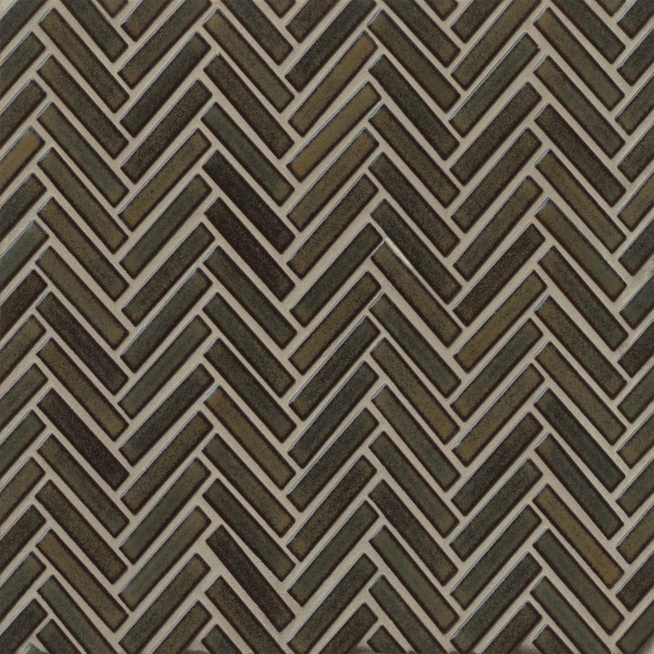"90 1/2"" x 2"" Herringbone Porcelain Mosaic Tile in Shadow"