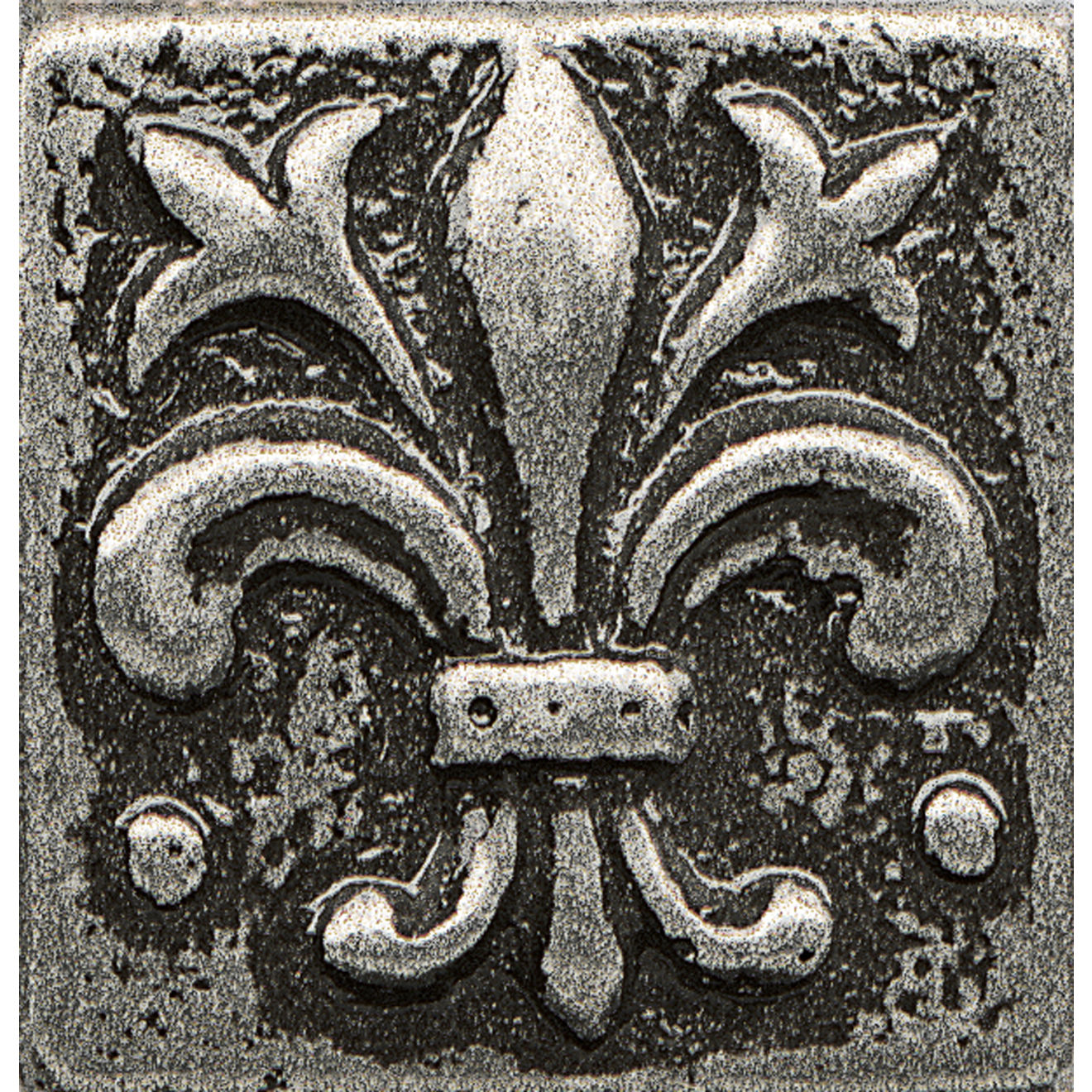 """Ambiance 1"""" x 1"""" Flo-de-Lis Metal Resin Insert in Pewter"""