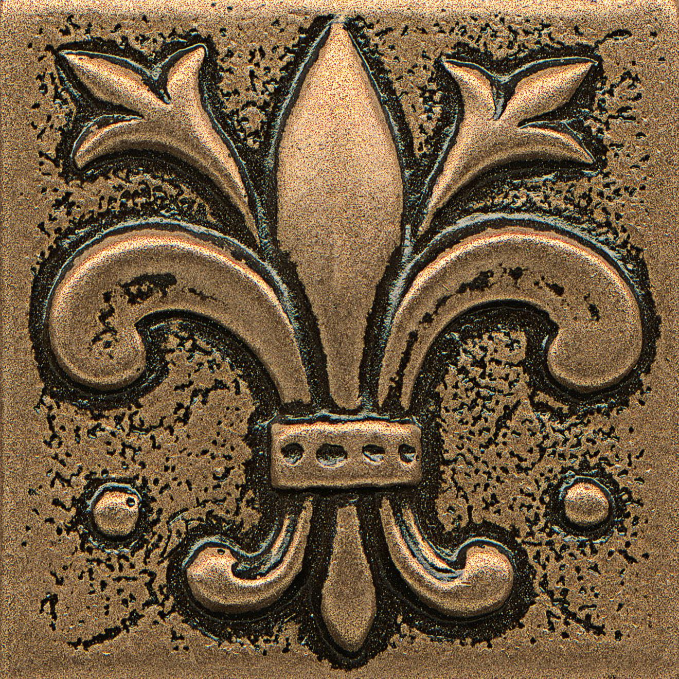 """Ambiance 2"""" x 2"""" Flo-de-Lis Metal Resin Insert in Bronze"""