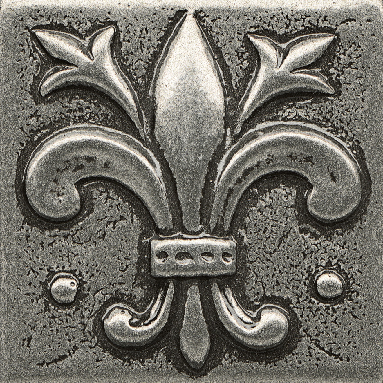 """Ambiance 2"""" x 2"""" Flo-de-Lis Metal Resin Insert in Pewter"""