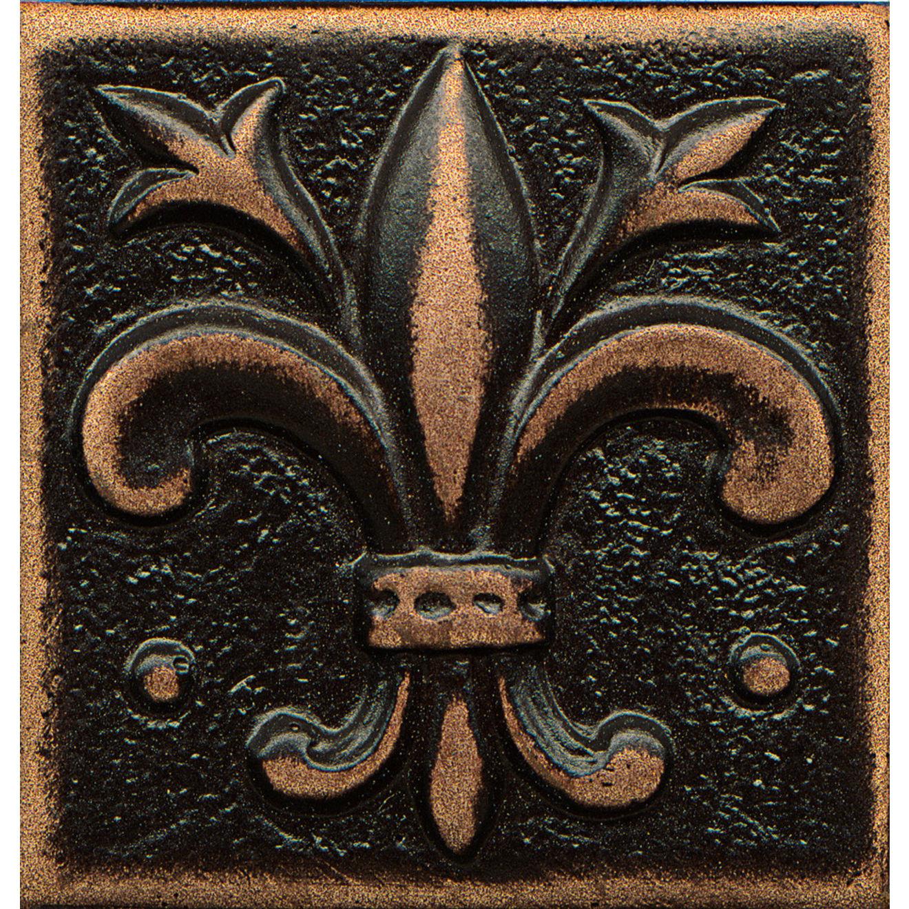 """Ambiance 2"""" x 2"""" Flo-de-Lis Metal Resin Insert in Venetian Bronze"""