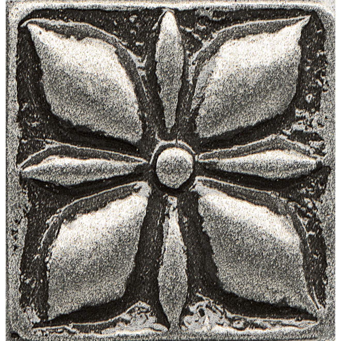 "Ambiance 1"" x 1"" Jasmine Flower Metal Resin Insert in Pewter"