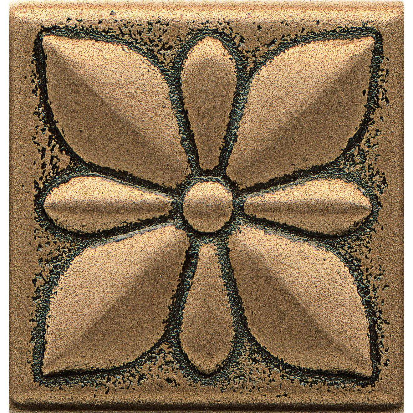 """Ambiance 2"""" x 2"""" Jasmine Flower Metal Resin Insert in Bronze"""