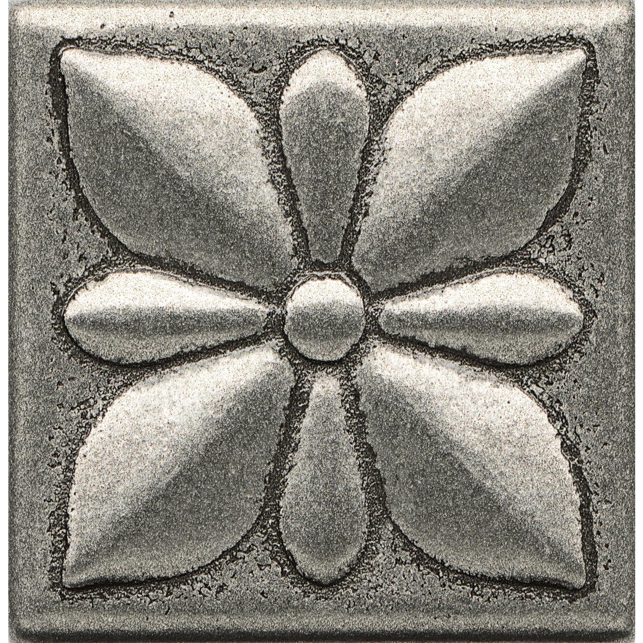 "Ambiance 2"" x 2"" Jasmine Flower Metal Resin Insert in Pewter"