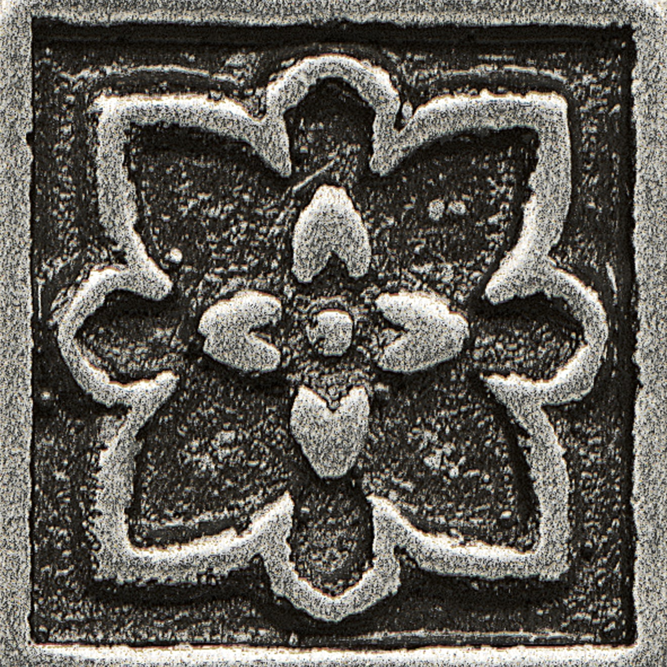 """Ambiance 1"""" x 1"""" Romanesque Metal Resin Insert in Pewter"""