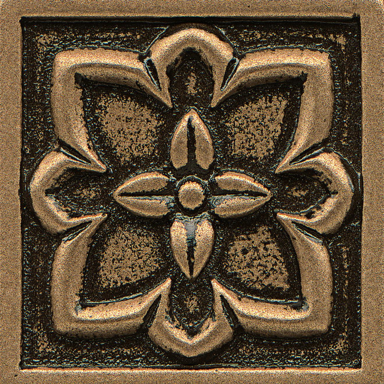"Ambiance 2"" x 2"" Romanesque Metal Resin Insert in Bronze"