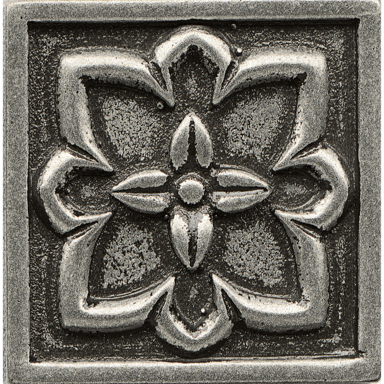 """Ambiance 2"""" x 2"""" Romanesque Metal Resin Insert in Pewter"""