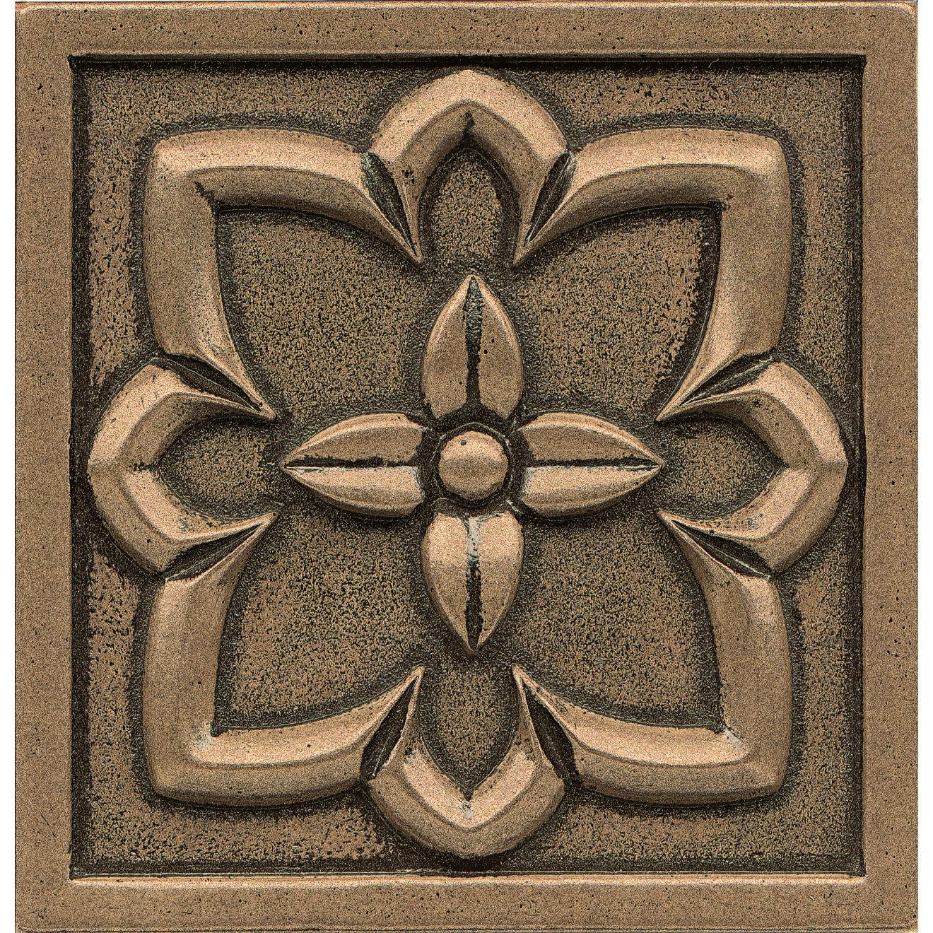 "Ambiance 4"" x 4"" Romanesque Metal Resin Insert in Bronze"