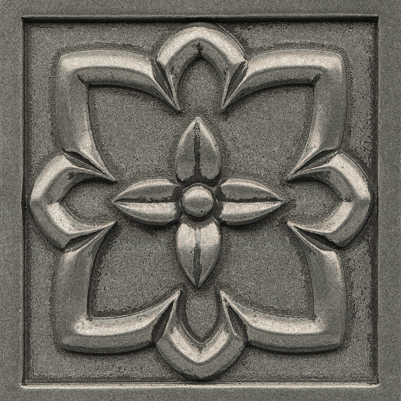 """Ambiance 4"""" x 4"""" Romanesque Metal Resin Insert in Pewter"""