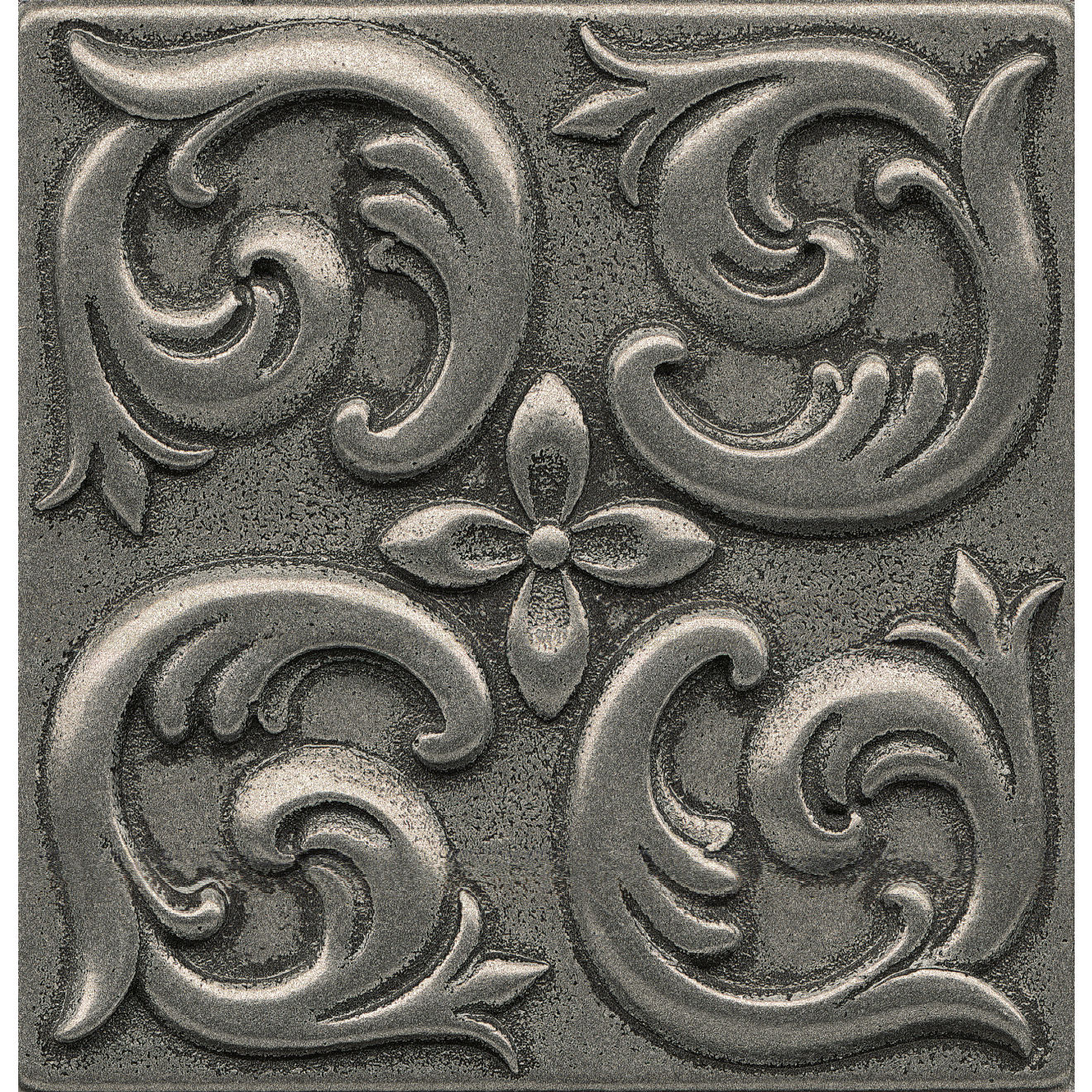 """Ambiance 4"""" x 4"""" Wave Metal Resin Insert in Pewter"""