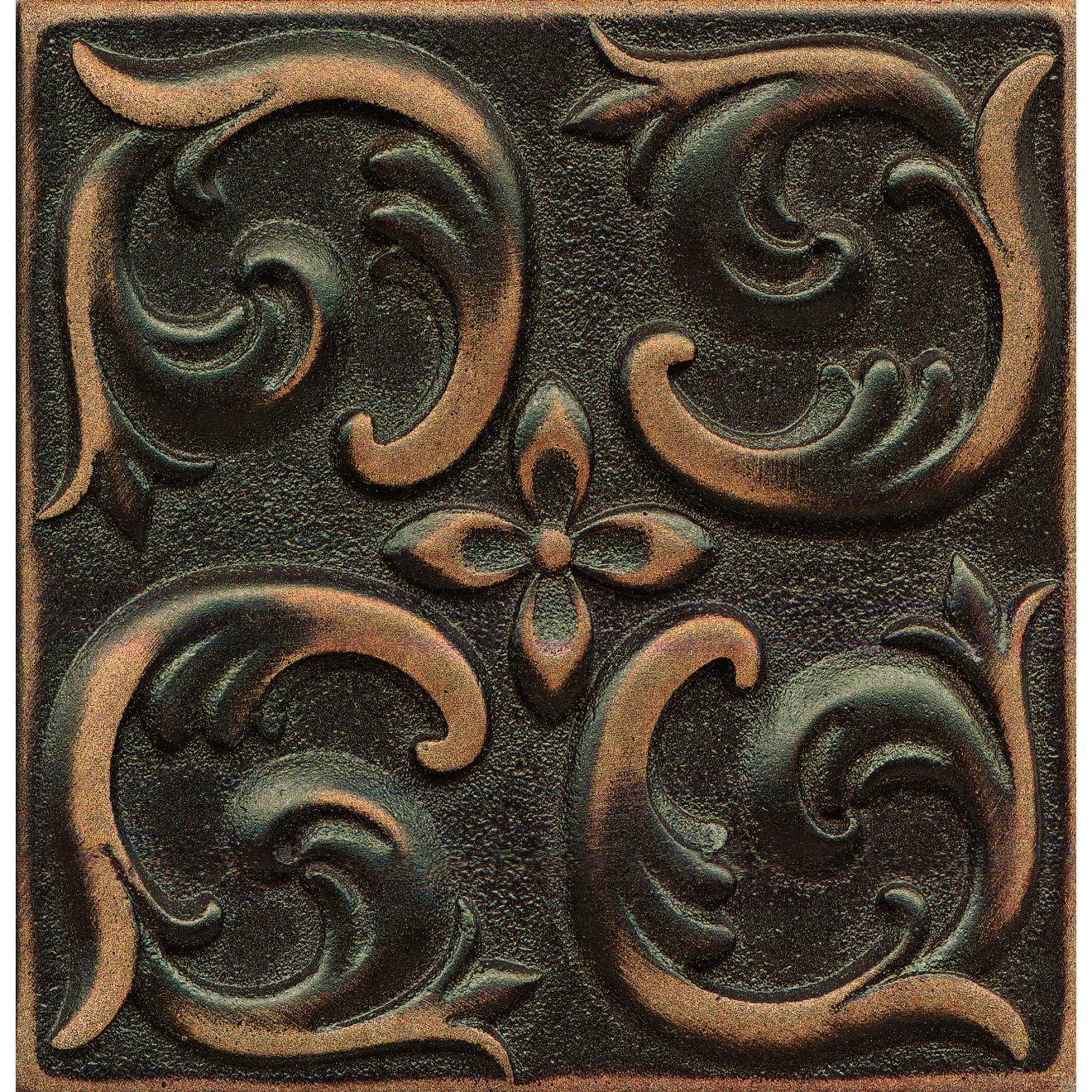 "Ambiance 4"" x 4"" Wave Metal Resin Insert in Venetian Bronze"