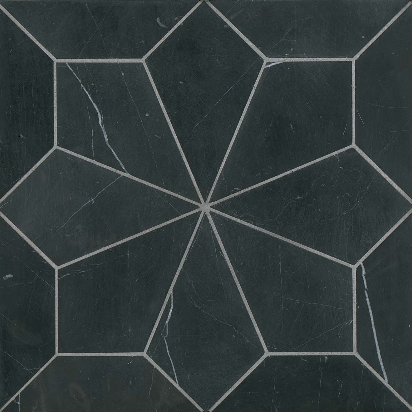Blomma Honed Marble Mosaic Tile in Nero