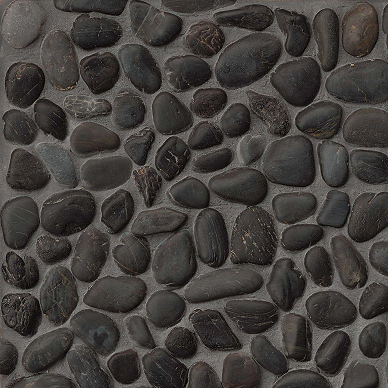Hemisphere Polished Pebble Mosaic in Panther Black