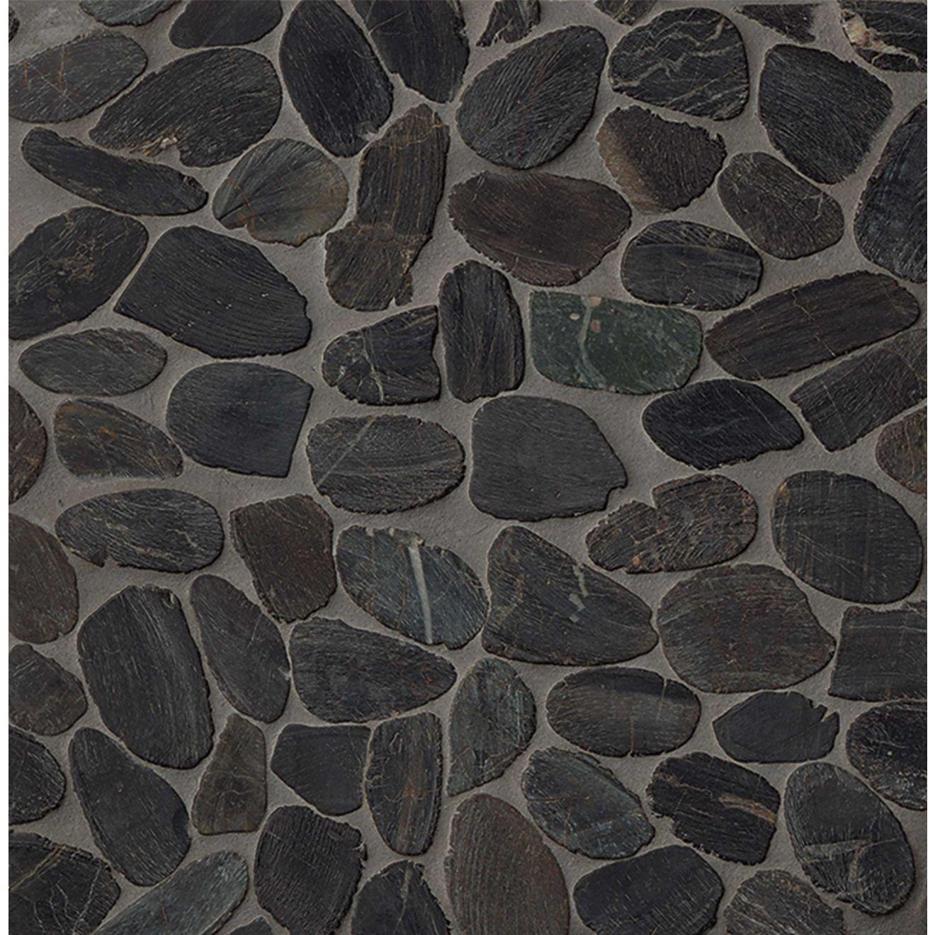 Hemisphere Polished Sliced Pebble Mosaic in Panther Black