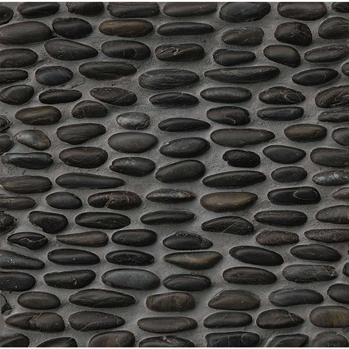 Hemisphere Polished Stacked Pebble Mosaic in Panther Black