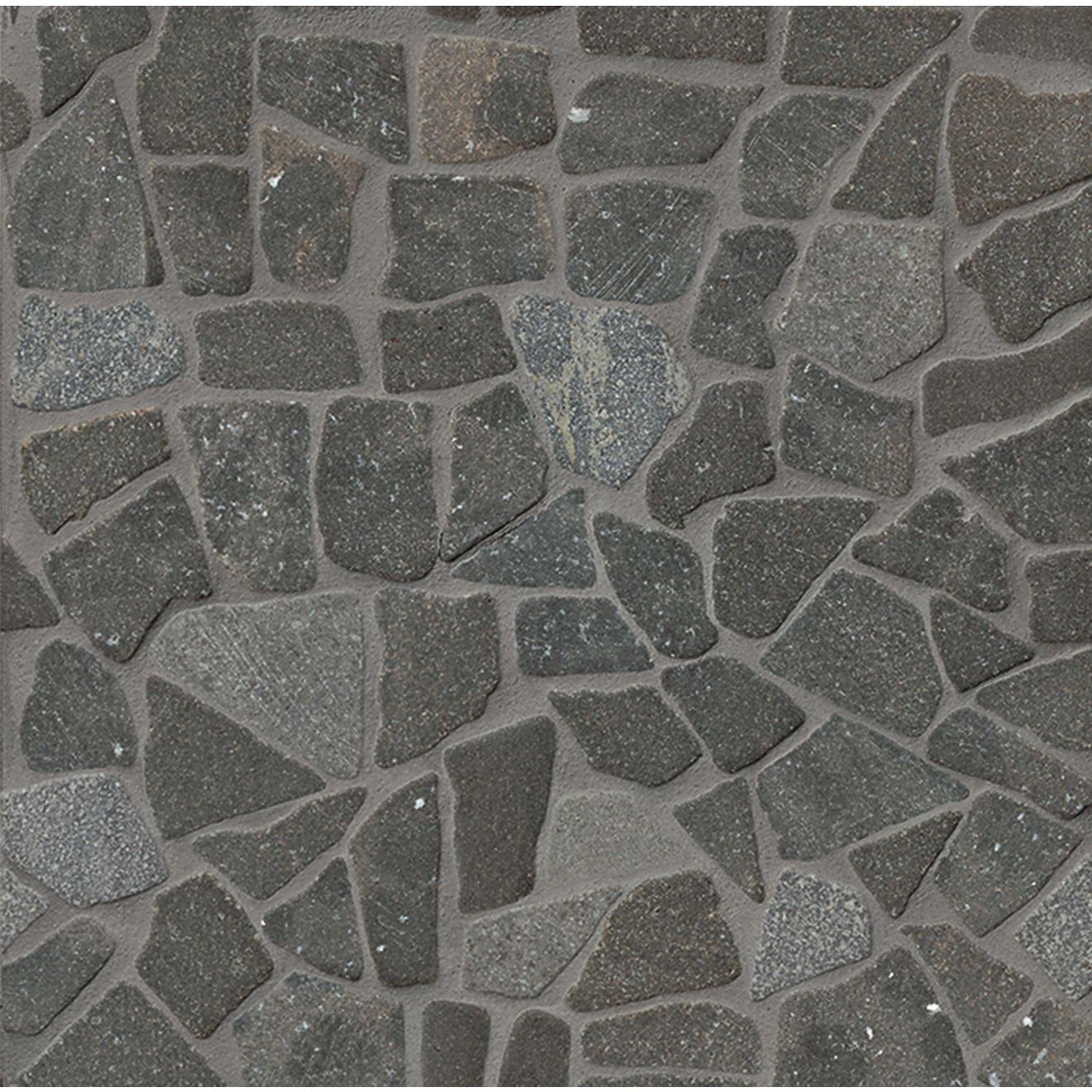 Hemisphere Crazy Random Square Interlocking Mosaic in Black Lava