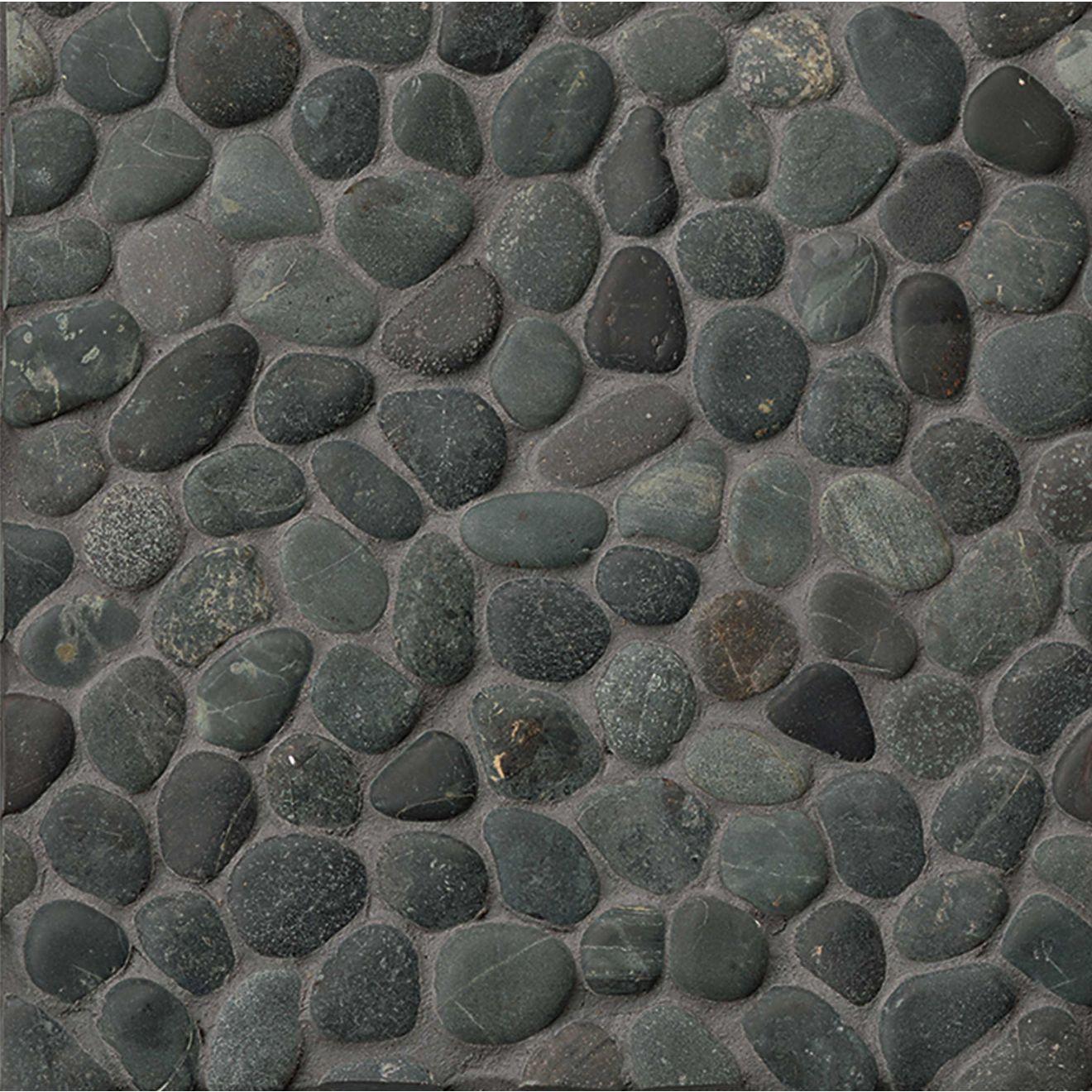 Hemisphere Unglazed Pebble Mosaic in Ocean Black