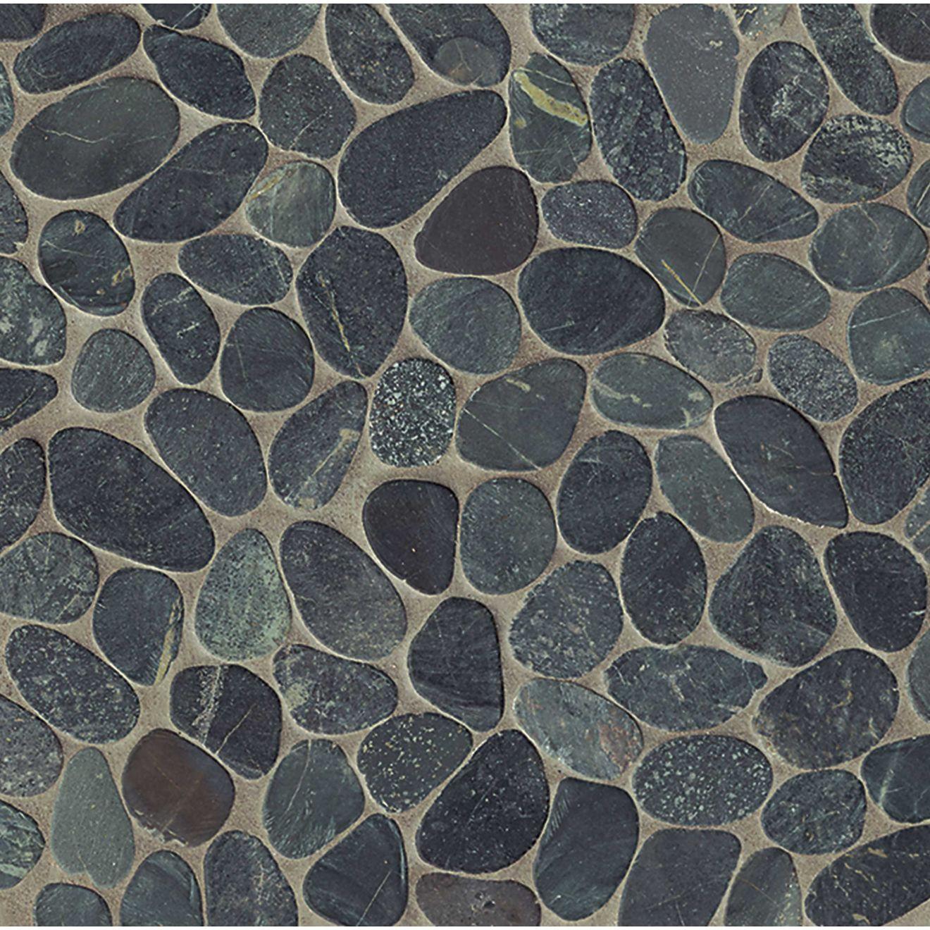 Hemisphere Unglazed Sliced Pebble Mosaic in Ocean Black