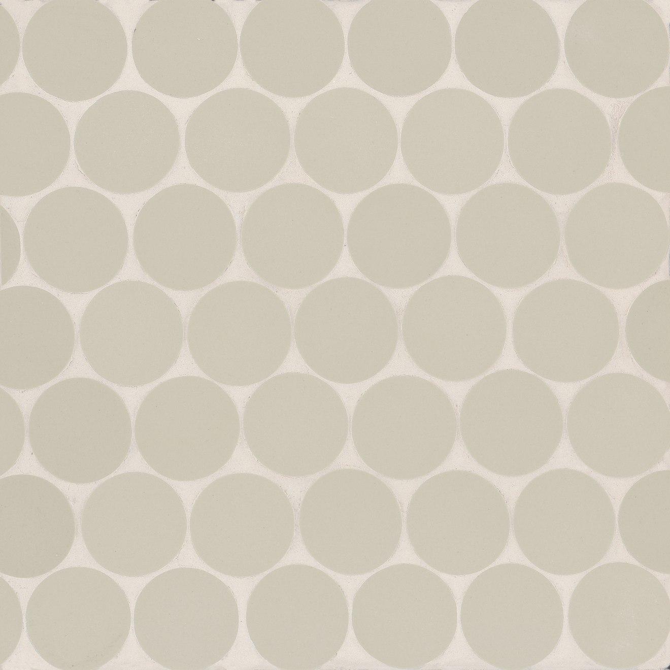 """Makoto 2"""" Round Matte Porcelain Mosaic Tile in Kumo Grey"""