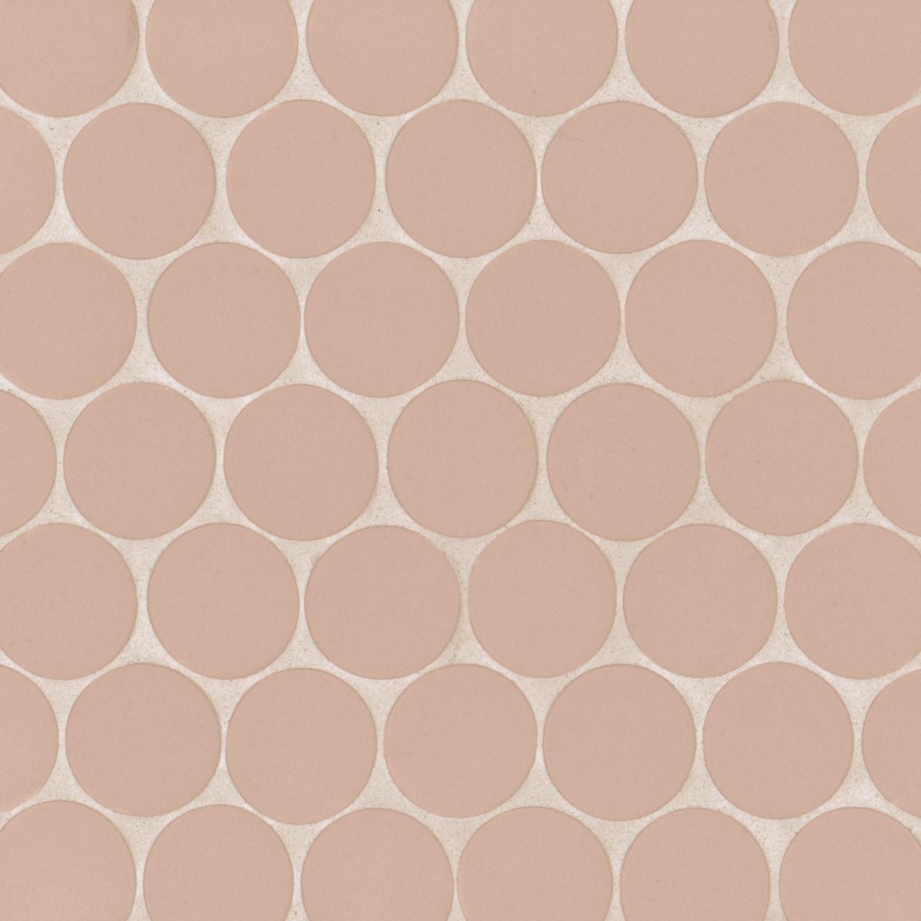 """Makoto 2"""" Round Matte Porcelain Mosaic Tile in Momoiro Blush"""