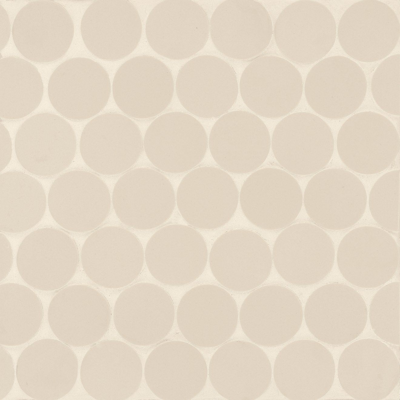 "Makoto 2"" Round Matte Porcelain Floor and Wall Mosaic in Tatami Beige"