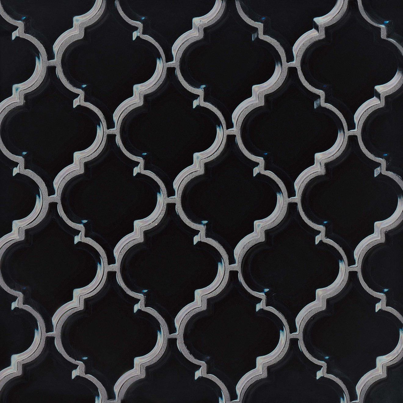 Provincetown Bevelled Arabesque Ceramic Mosaic Tile in Fleet Black