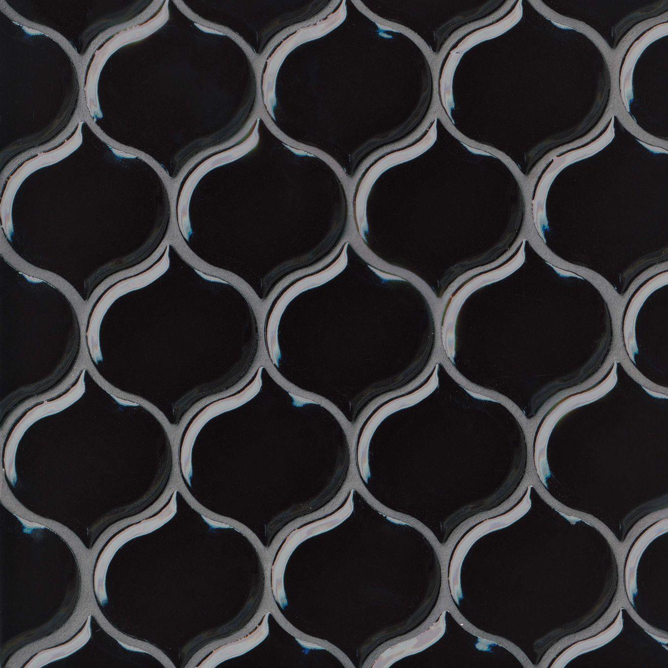 Provincetown Bevelled Lantern Ceramic Mosaic Tile in Fleet Black