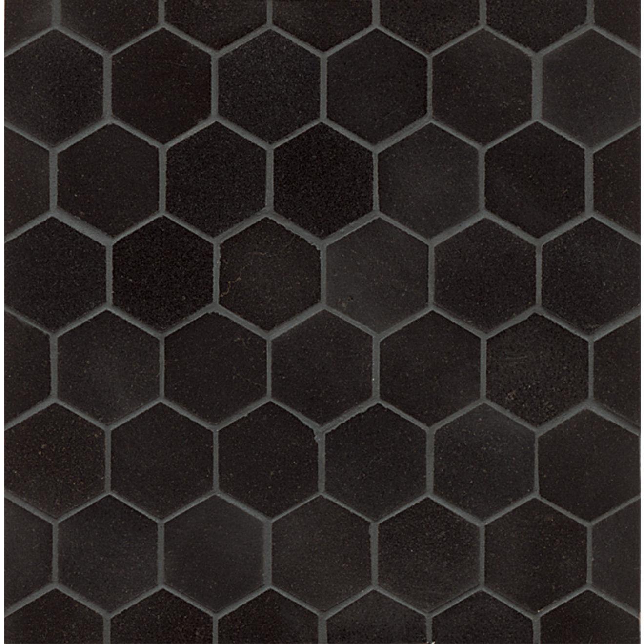 """Absolute Black 2"""" Hexagon Honed Granite Mosaic Tile"""
