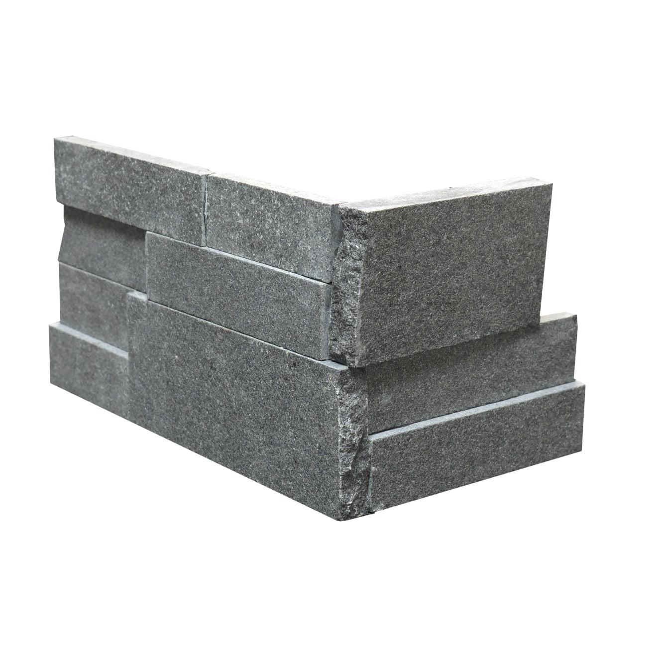 "Absolute Black 6"" x 24"" Flamed Granite Ledger Corner"