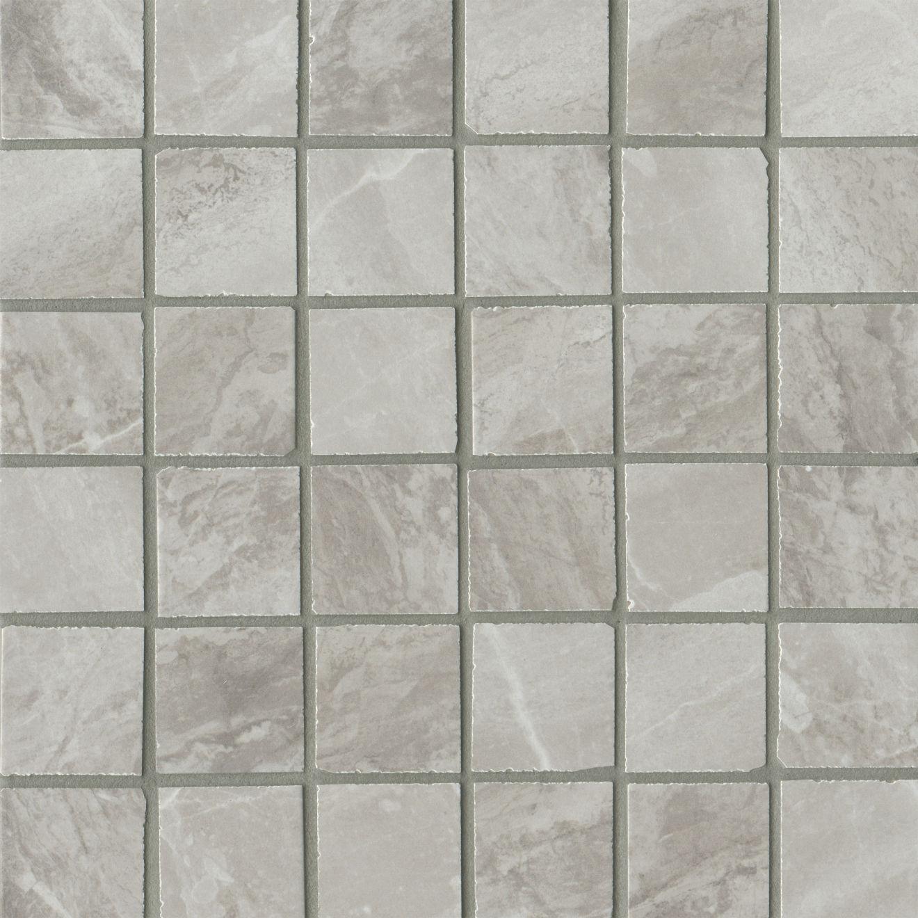 "Stone Mountain 2.0 2""x2"" Matte Porcelain Mosaic in Silver"