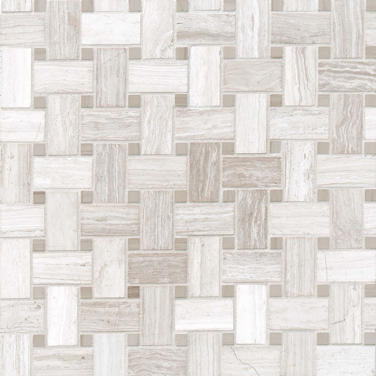 Ashen Grey Basket Weave Honed Marble Mosaic w/ Lennox Grey Dot