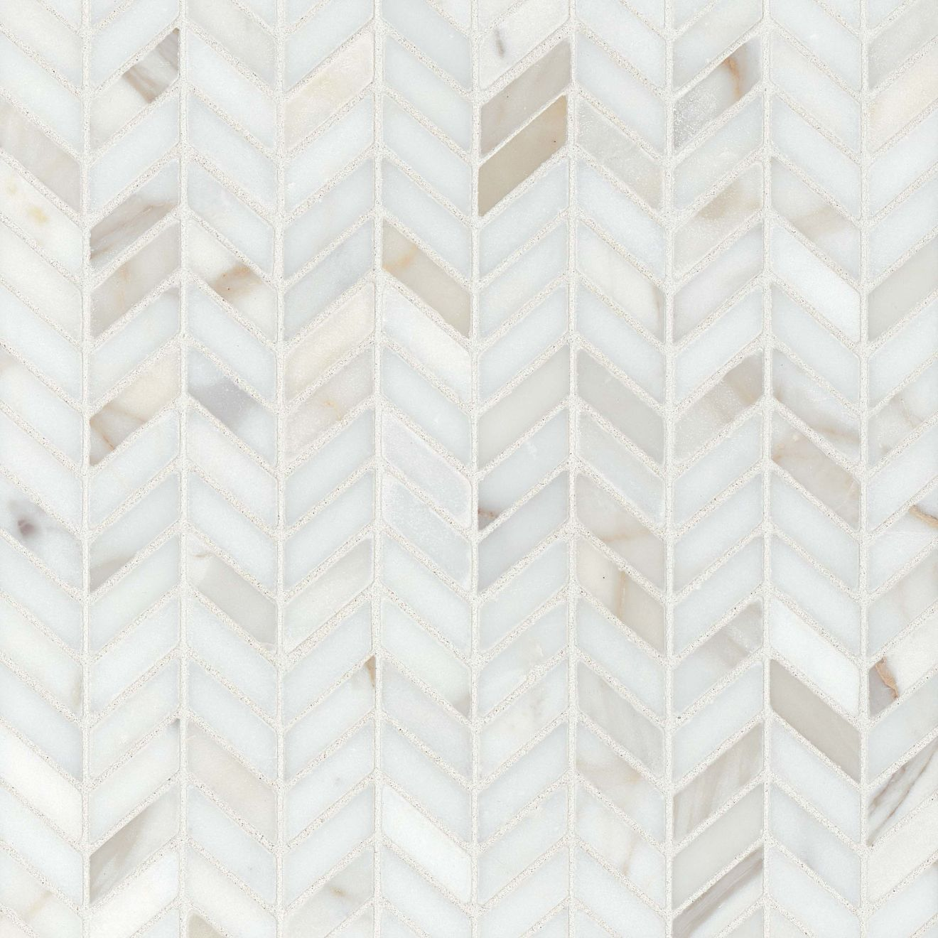 Calacatta Chevron Honed Marble Mosaic Tile in White