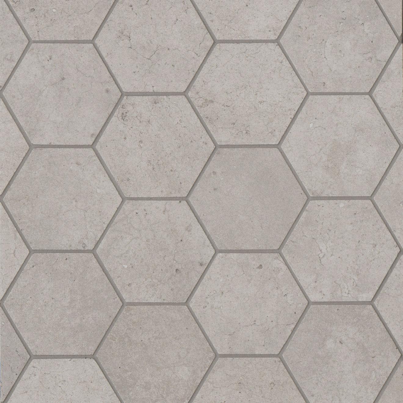 "Materika 3"" Hexagon Matte Porcelain Mosaic in Greige"