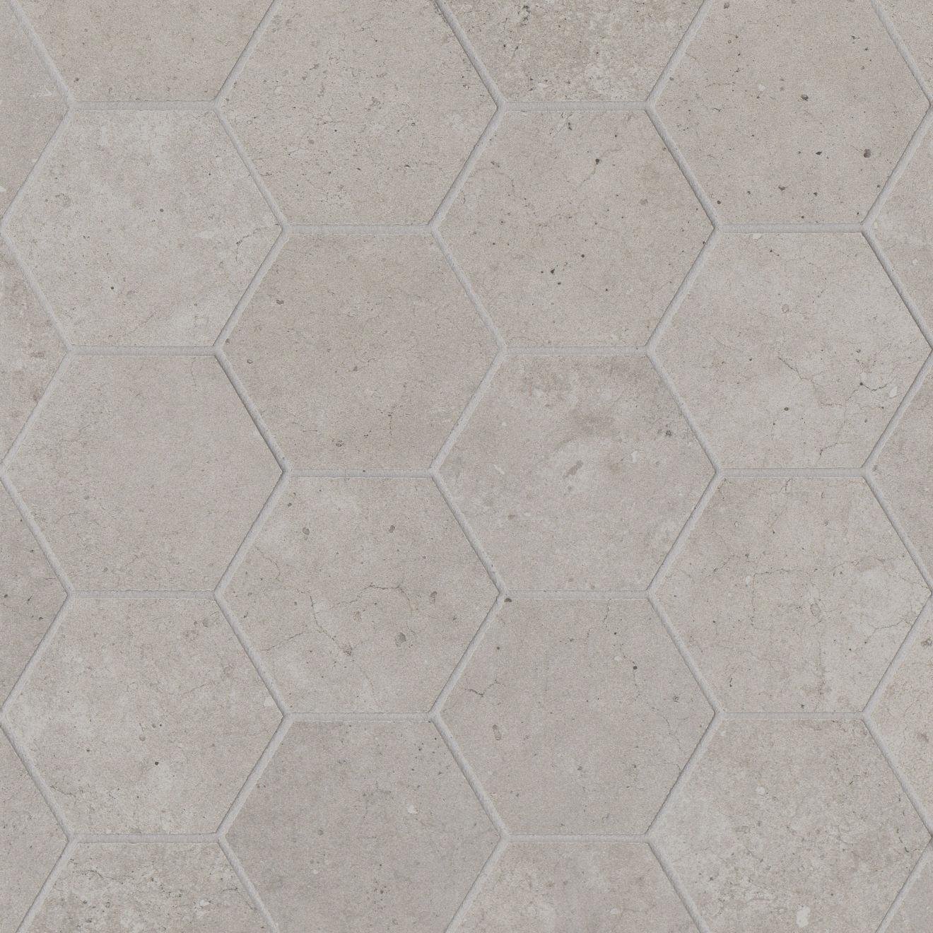 "Materika 3"" Hexagon Matte Porcelain Mosaic in Silver"