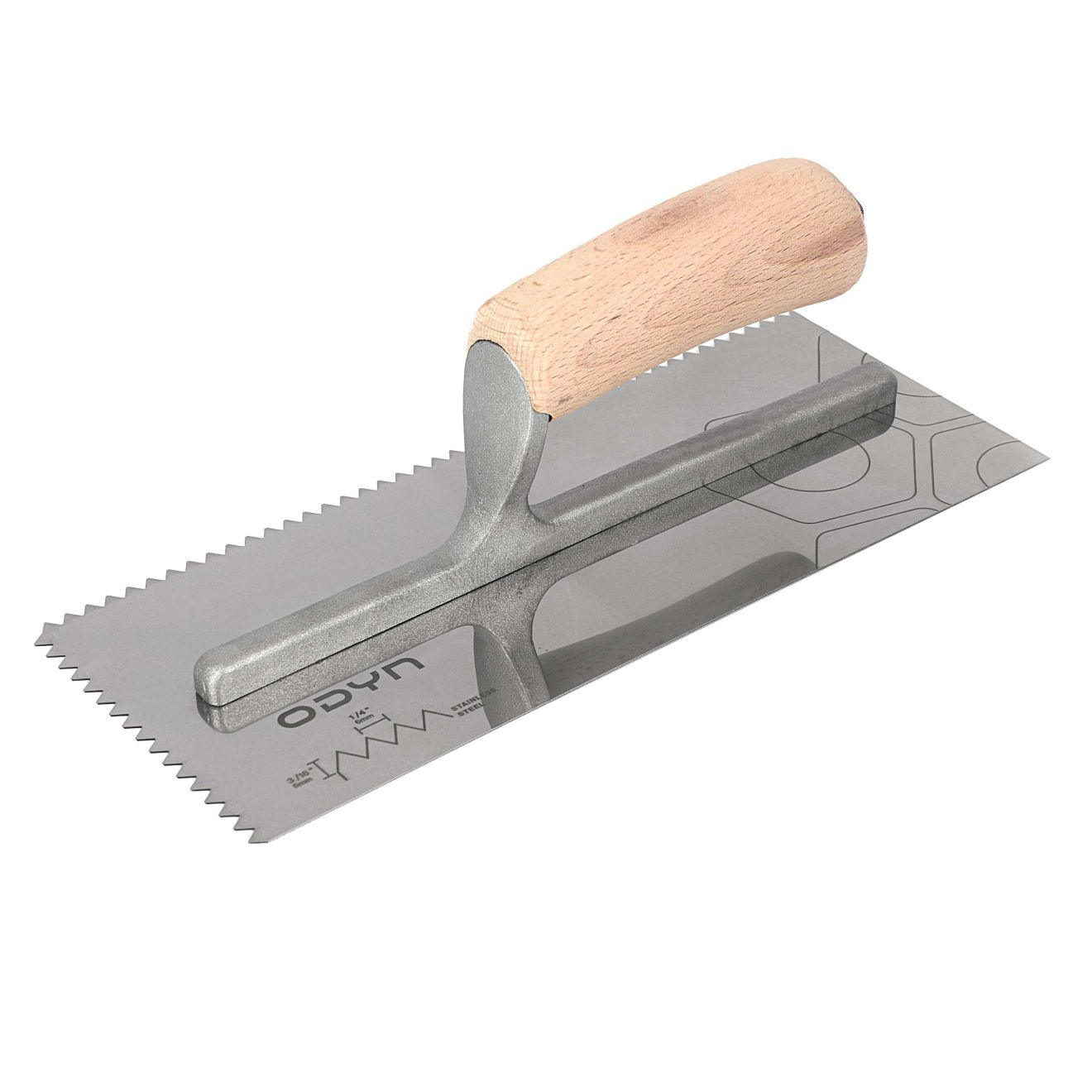Odyn 11 in. x 1/4 in. x 3/16 in. V-Notch Stainless Steel Trowel