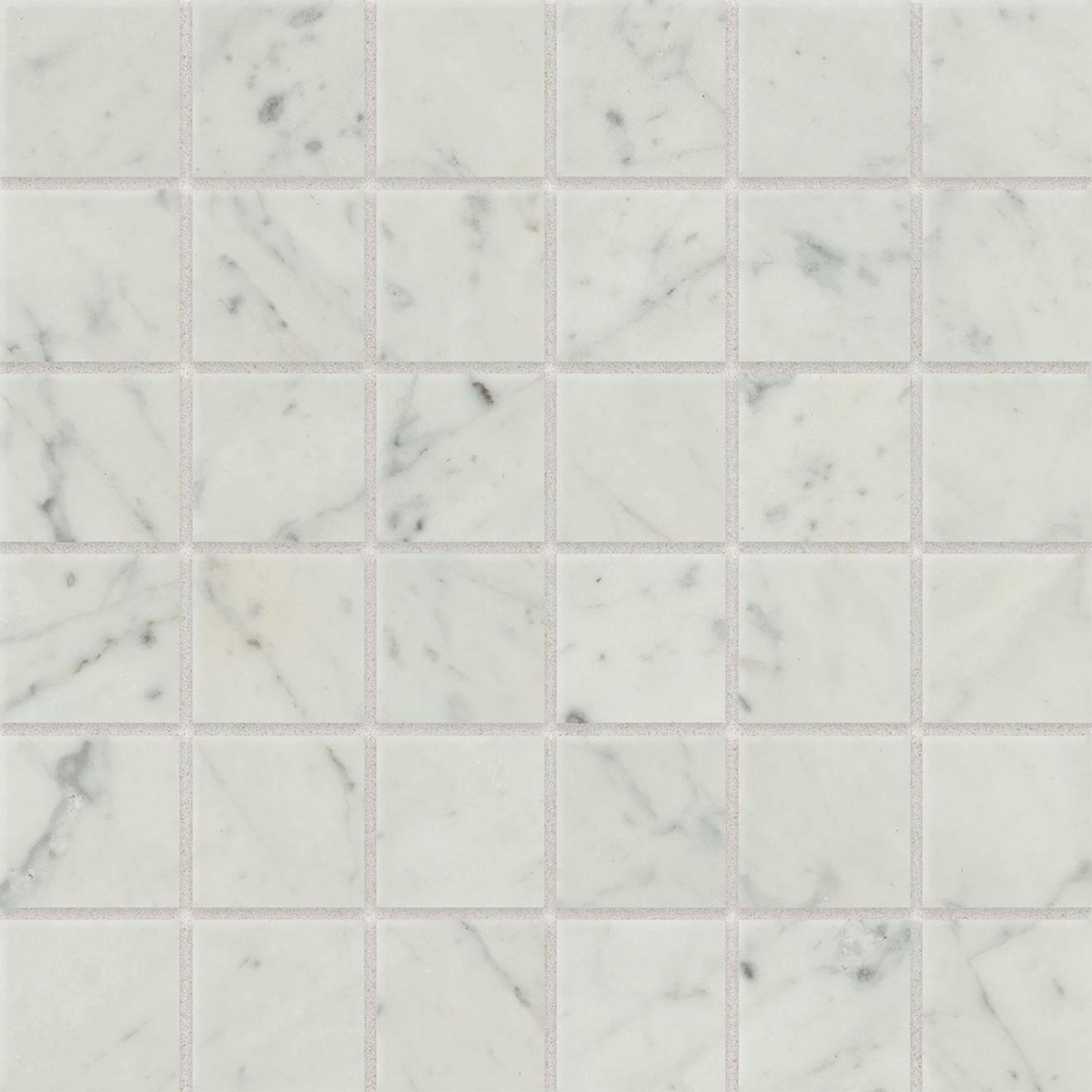 "Classic 2.0 2"" x 2"" Floor & Wall Mosaic in Bianco Carrara"